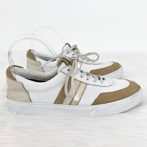 Kaanak White Tan Suede Flat Lace Up Sneakers Shoes